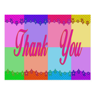 Thank You colorful flowers Postcards