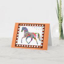 Thank You Colorful Horse Pony with Border Orange