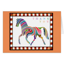 Thank You Colorful Horse Pony with Border Orange Card