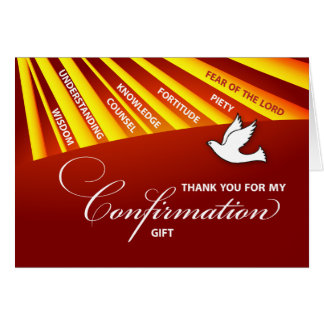Thank You Confirmation Gift Gold & Red Rays Card