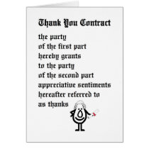 Thank You Contract - a funny legal thank you poem Card