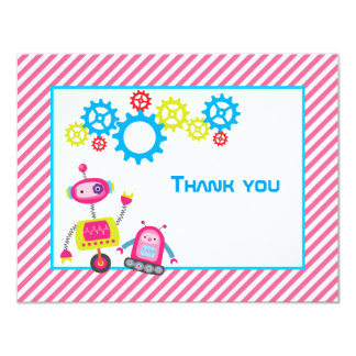 Thank You Cool Robots Pink Card