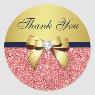Thank You Coral Sequins Gold Navy Diamonds Bow Classic Round Sticker