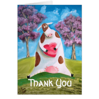 Thank You cow heart Stationery Note Card