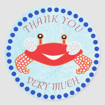 Beach Themed Thank You Crab Nautical Baby Shower Stickers