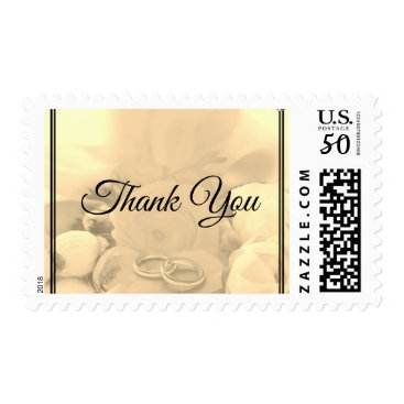 Wedding Themed Thank You Cream Floral Roses with Rings - Postage