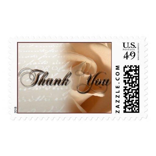 Thank You Cream Rose Wedding Postage