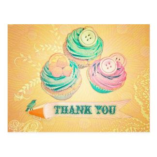 thank you cupcake postcard