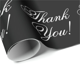 Thank You Cursive Black and White Wrapping Paper