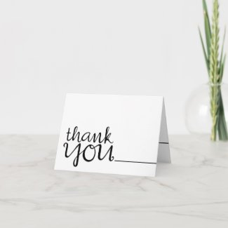 Thank You Cursive black Note Card card