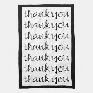 Thank You Cursive black Tea Towel kitchentowel