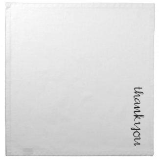 Thank You Cursive black white Napkin napkin