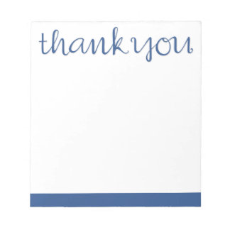 Thank You Cursive blue Notepad