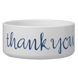 Thank You Cursive blue Pet Bowl