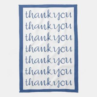 Thank You Cursive blue Tea Towel