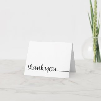 Thank You Cursive long black Note Card card