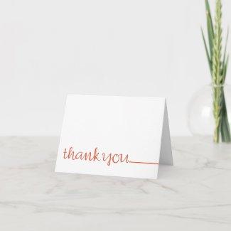 Thank You Cursive long tangerine Note Card card