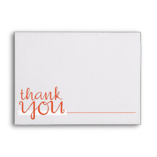 Thank You Cursive tangerine A7 Note Card Envelope