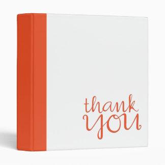 Thank You Cursive tangerine Binder