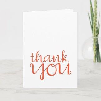 Thank You Cursive tangerine Card card