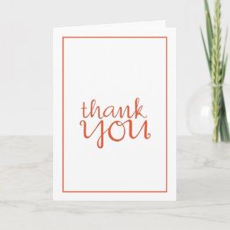Thank You Cursive tangerine framed Card card