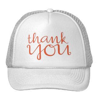 Thank You Cursive tangerine Hat
