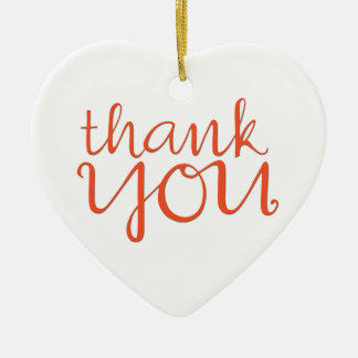 Thank You Cursive tangerine Heart Ornament