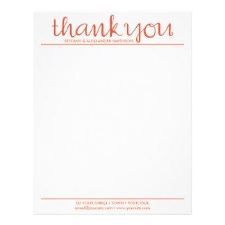 Thank You Cursive tangerine Letterhead