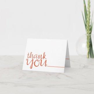 Thank You Cursive tangerine Note Card card