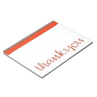 Thank You Cursive tangerine Notebook