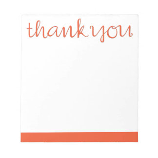 Thank You Cursive tangerine Notepad