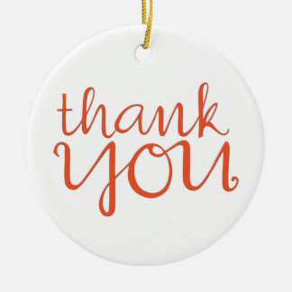 Thank You Cursive tangerine Round Ornament
