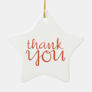 Thank You Cursive tangerine Star Ornament