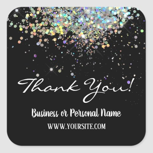 Thank You Custom Business Rainbow Glitter Square Sticker