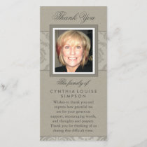 Thank You Custom Photo Elegant Beige Memorial Card