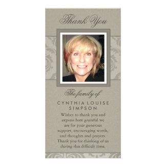 Thank You Custom Photo Elegant Beige Memorial Card