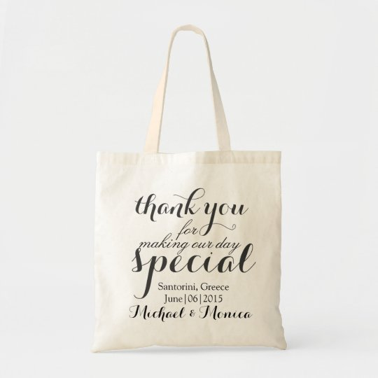 Thank You Custom Wedding Hotel Gift Tote Bag Zazzle