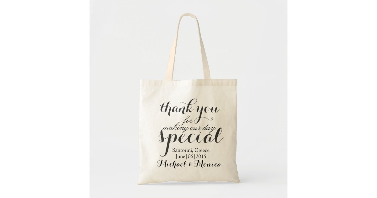 Wedding Hotel Gift Bag Message : Thank You Custom Wedding Hotel Gift Tote Bag Zazzle