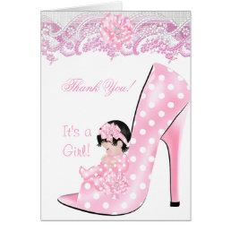 Thank You Cute Baby in High Heel Shoe Shower Baby Card