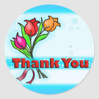 THANK YOU cute cartoon flowers stickers