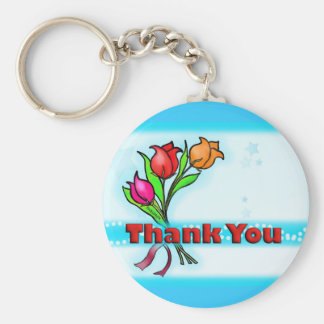THANK YOU cute fun cartoon flowers keychain
