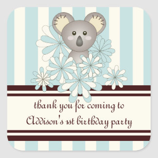 Thank You Cute Kids Birthday | Baby Shower Favor Square Sticker