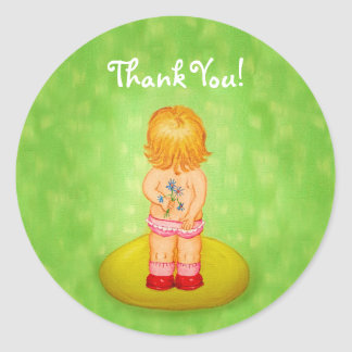 Thank You Cute Little Girl Bouquet of Flowers Classic Round Sticker