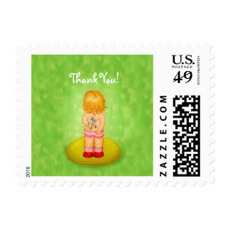 Thank You Cute Little Girl Bouquet of Flowers Postage