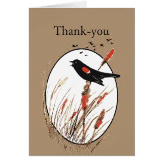 Thank You Cute Little Red-Winged Blackbird Bird Card