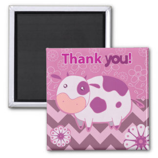"""""""Thank You"""" Cute Pink Cow Magnet"""