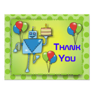 "Thank You Cute Robot with Balloons Green Cards 4.25"" X 5.5"" Invitation Card"
