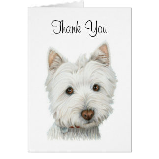 Thank You Cute Westie Dog Card