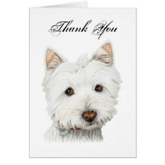 Thank you, cute Westie dog greeting card