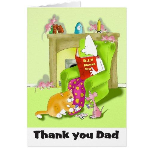 thank you dad mice greeting card